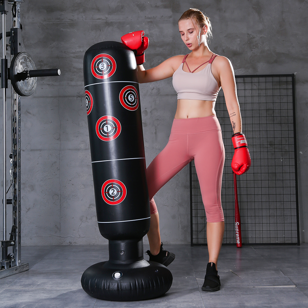 Vertical Inflatable Boxing Bag Column Punching Bag Stand Home Gym Fitness Training Tool Reduce Pressure Relief Tumbler Sandbag