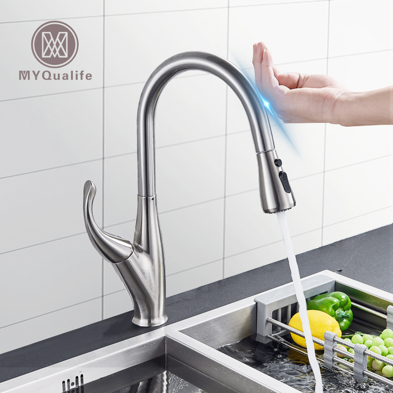 Us 69 0 40 Off Three Colors Pull Out Sensor Kitchen Faucet Black Sensitive Touch Control Mixer For Tap In