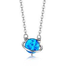 Zemoor-collar con colgante de Planeta Azul para mujer, de Plata de Ley 925, bonito globo pequeño, joyería fina