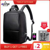 BOPAI, мужской кожаный рюкзак с зарядкой через USB для путешествий, модный крутой школьный рюкзак, сумки для мальчиков, рюкзак для ноутбука с защ...
