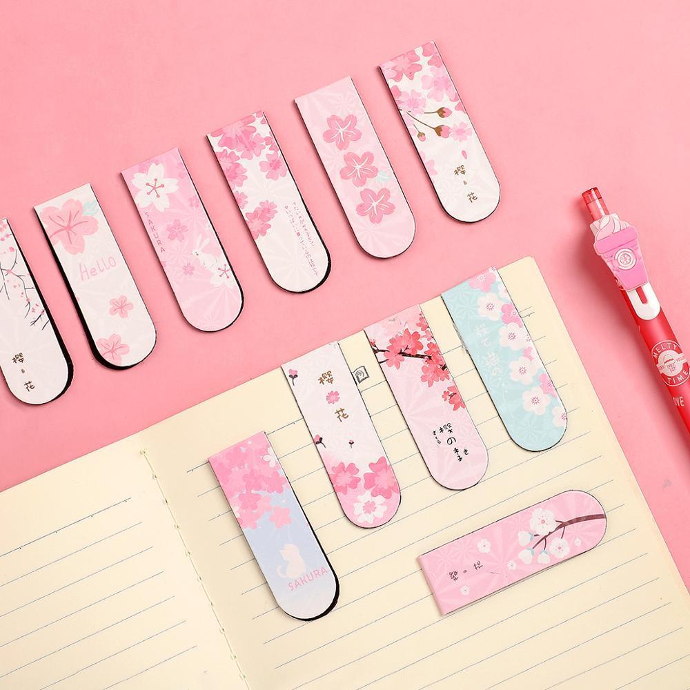 6pcs/set Cute Cartoon Sakura Magnet Bookmark Life Fresh Bookmark Creative Bookmark Magnetic For Books Kawaii School Supplies