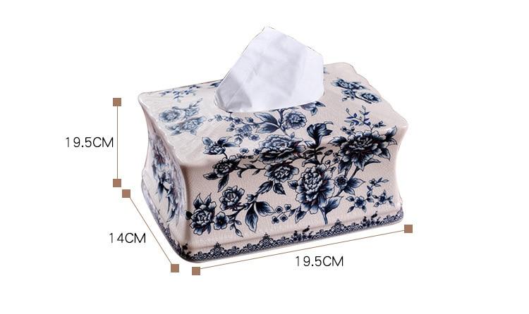 Купить с кэшбэком Traditional Chinese Blue and White Porcelain Tissue Holder Ceramic Waterproof Tissue Box Bathroom Napkin Holder Kitchen Decor