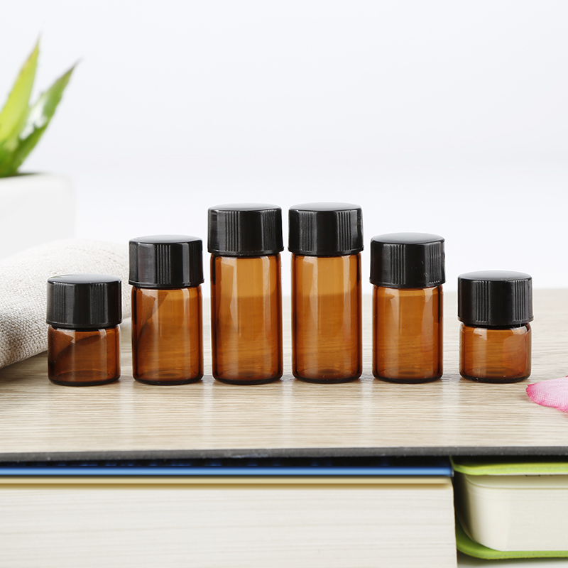 10pcs 1ml 2ml 3ml Portable Amber Glass Essential Oil Reagents Travel Refillable Sample Bottle Orifice Brown Glass Vials TSLM1