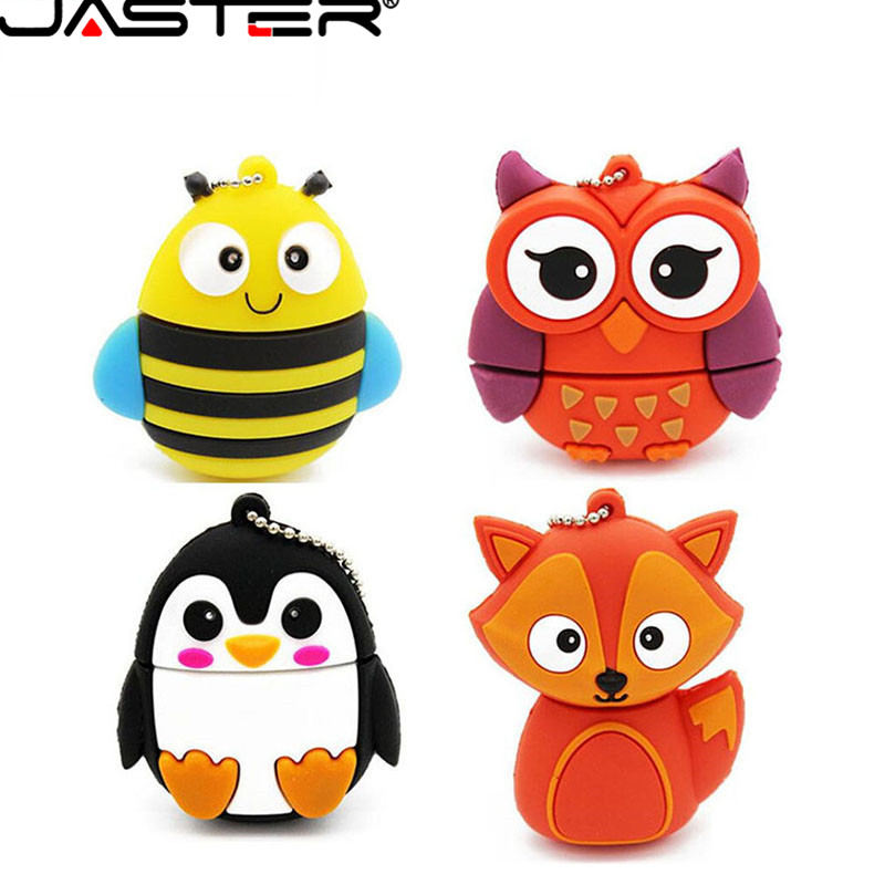 JASTER Lovely Bee Penguin Owl Fox U Disk Cute Animal Gift Cartoon USB 2.0 4gb/8gb/16gb/32gb/64gb Real Capacity USB Memory Stick