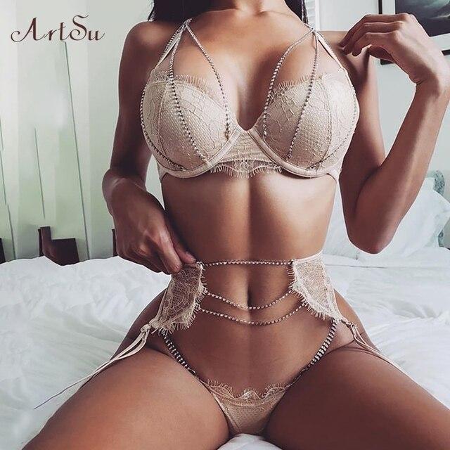 ArtSu Sparkle Chain Push Up Bra And Panty Set Women Bodycon Intimates Lingerie Set Underwear Bralette Lace Brief Set ASSU60169 1