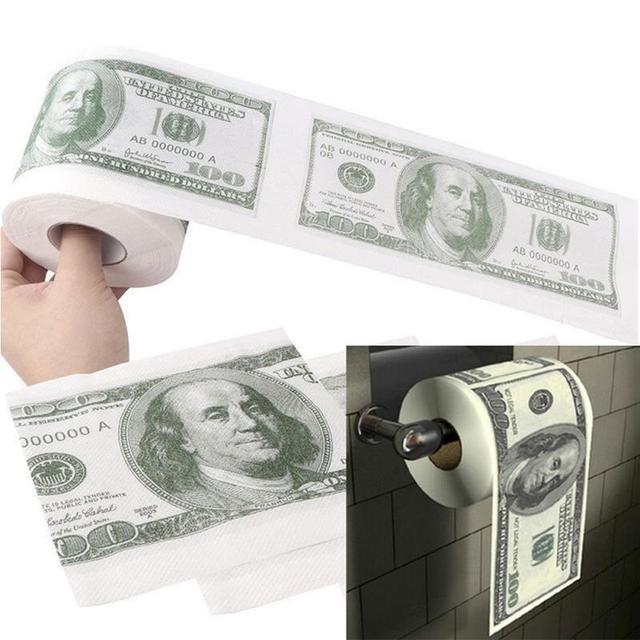 $100 Dollar Humour Toilet Paper Bill Toilet Paper Roll Novelty Gag Gift Prank Funny Dollar Bill Toilet Roll Paper Dollar Bill
