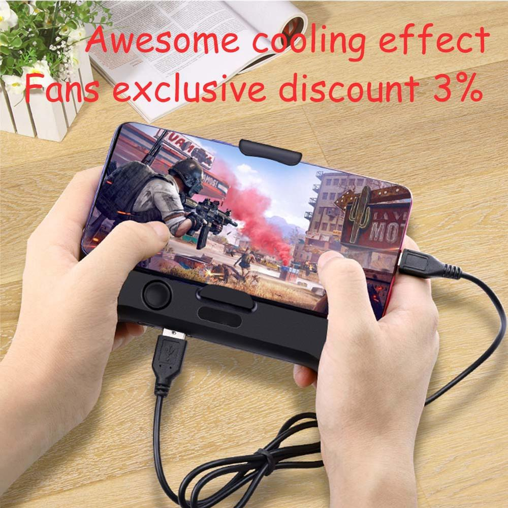 For PUBG Mobile Phone Gamepad Cooling Function 6.5in Phones Holder Dual Fans Game Heat Sink Power Bank Noise Reduction Joystick