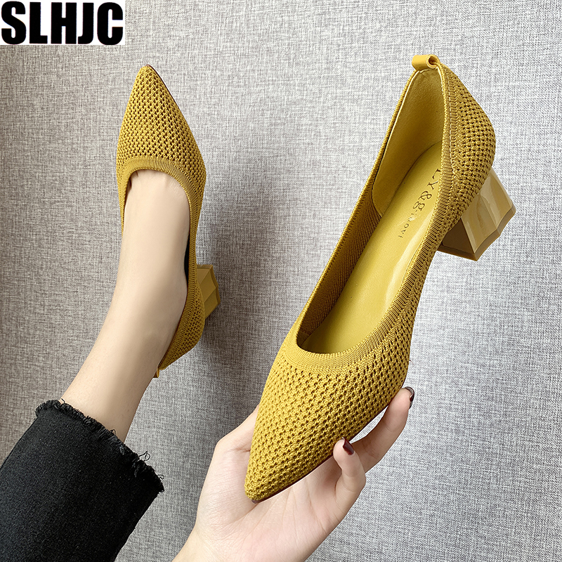 SLHJC Women Pumps Autumn Spring Stretchy Fabric Med Chunky Heels Shoes Slip On Sexy Pointed Toe Work Office Casual Daily Shoe