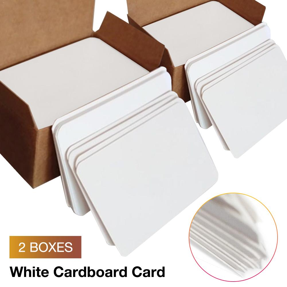 200Pcs Blank Hard Paper Card Paper DIY Board Game White Cardboard Card Playing Card Family Team Game Outdoor Activities Deck Box