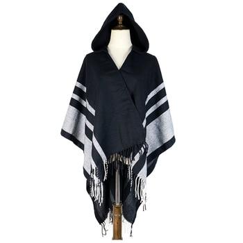 hoody ponchos winter Brand cashmere shawl wrap amice feminina accesorios cape hat shawl inverno shawl stripe wraps stoles cappa