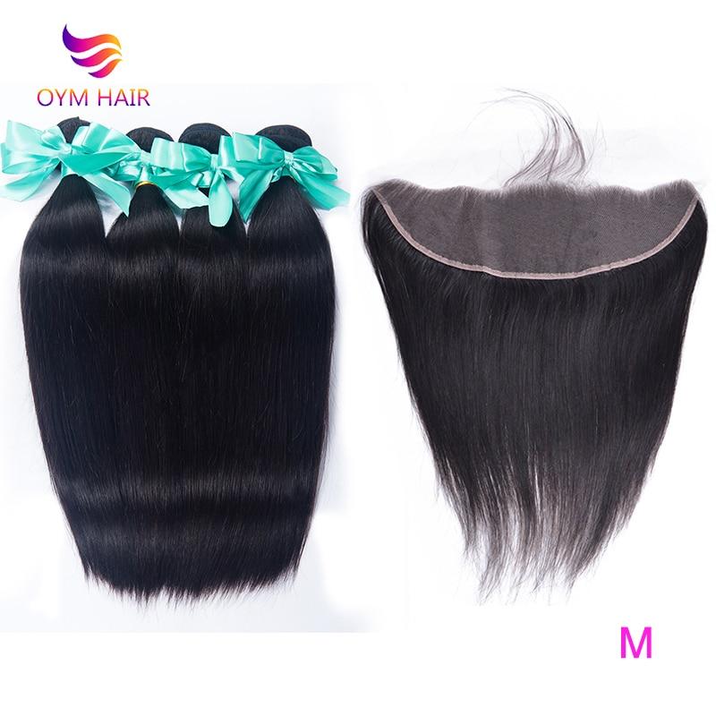 OYM HAIR Malaysian Straight Hair Bundles With Closure Non-Remy Human Hair 3 Bundles With Closure Frontal Hair Extension