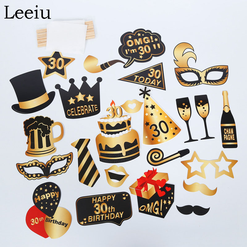 Leeiu 30th/40th/<font><b>50th</b></font>/60th Happy <font><b>Birthday</b></font> Photo Booth Props Adult Party Funny Mask 30 Years <font><b>Birthday</b></font> <font><b>Decorations</b></font> Photobooth image