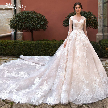 Adoly Mey Elegant O-Neck Long Sleeve Lace A-Line Wedding Dresses 2020 Luxury Beaded Appliques Royal Train Princess Bridal Gown