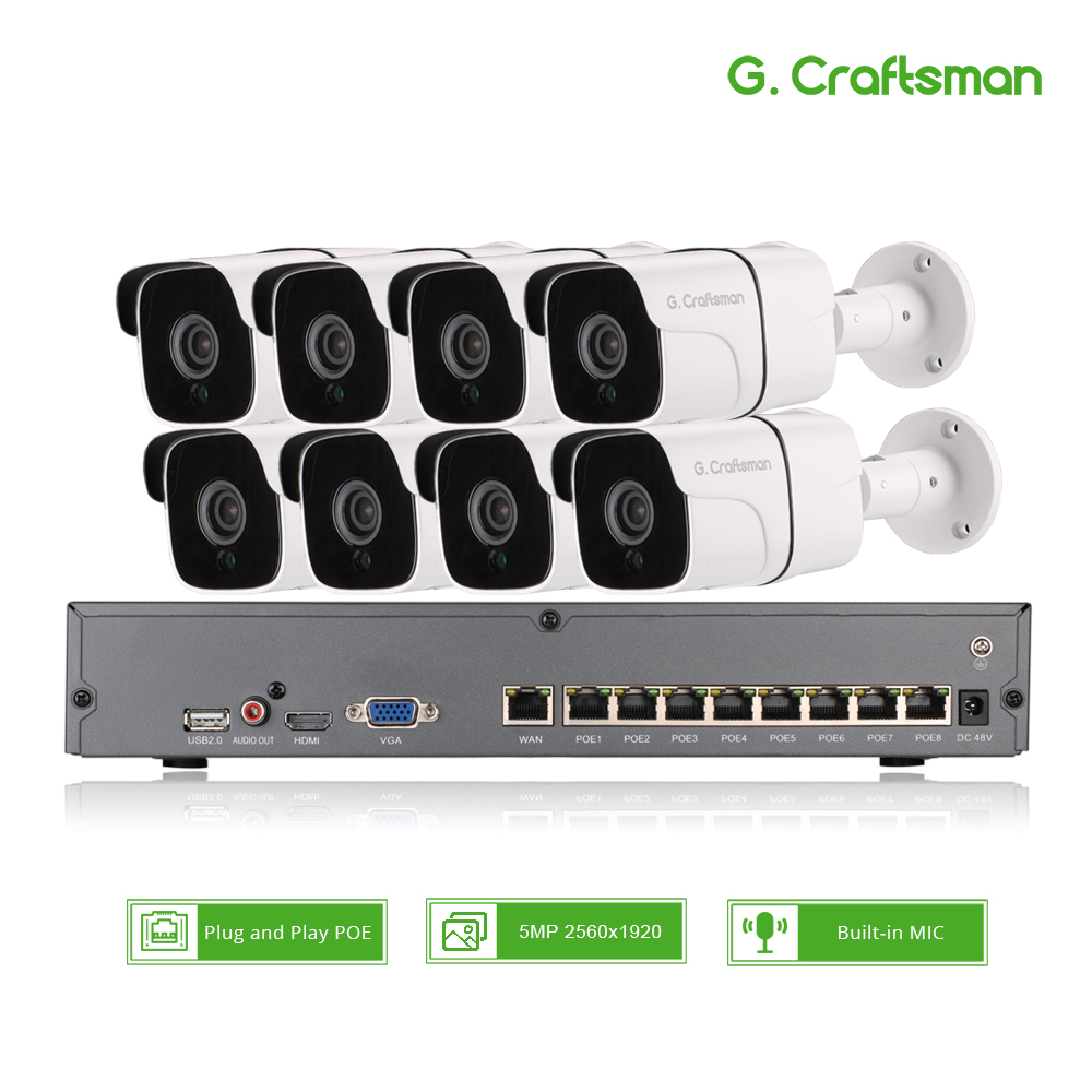8ch 5MP Audio POE Kit H.265 System CCTV Security NVR Outdoor Waterproof IP Camera Surveillance Alarm Video Record G.Craftsman