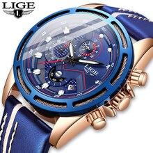 Lige relógios masculinos 2020, relógios modernos, esportivos e para o trabalho de quartzo, marca de luxo, couro, à prova d água