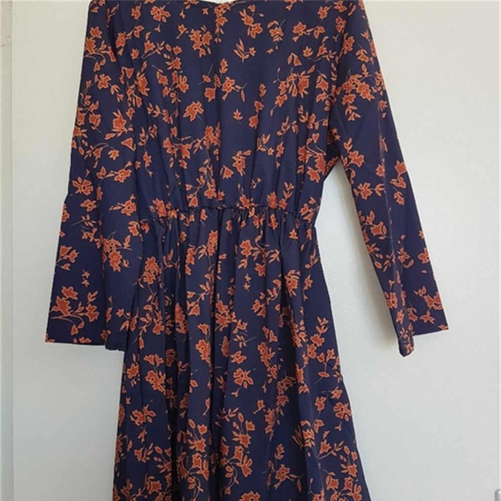 אופנה נשים שמלה פרחוני הדפסת אלסטי מותניים O-צוואר Loose ארוך שרוולים נקבה סתיו חורף המפלגה שמלת Vestidos