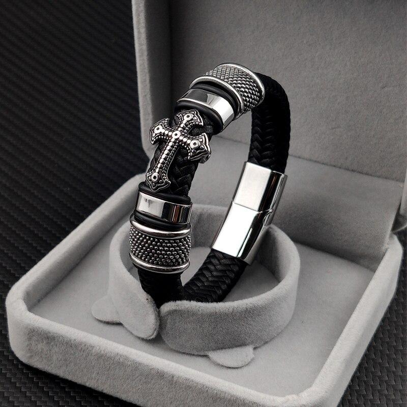 Bracelet en cuir homme breloque 12*6 noir tissé  3