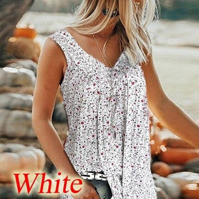 Blouses Women V Collar Printed Broken Flowers Sleeveless Beach Tops Summer Sexy Sleeveless Leisure Time Female Shirts
