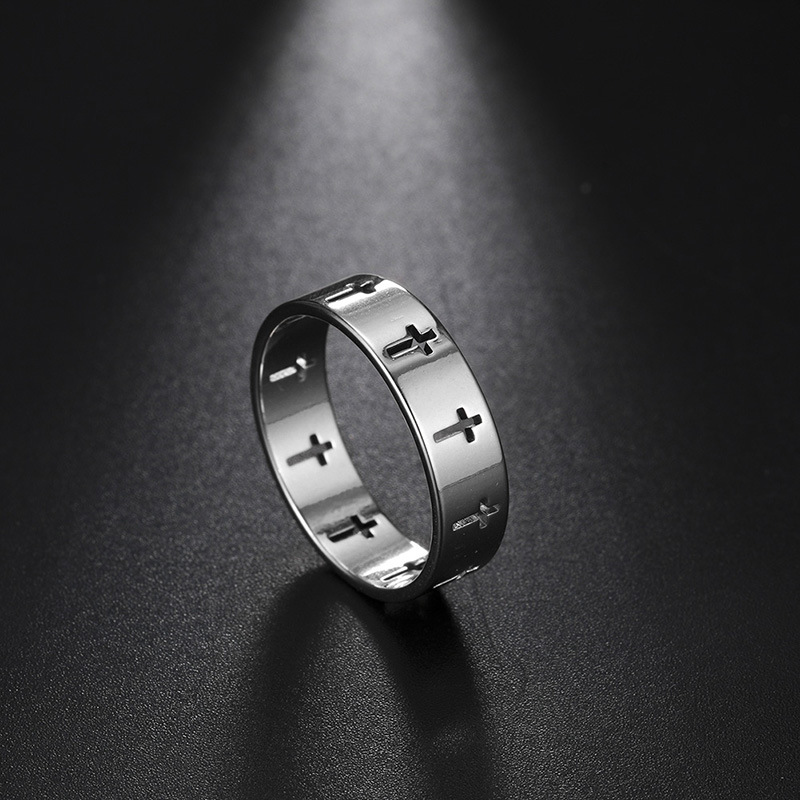 Rinhoo Stainless Steel Couple Rings Women Men Hollow Cross Personality Punk Finger Ring Engagement Wedding Party Jewelry Gift