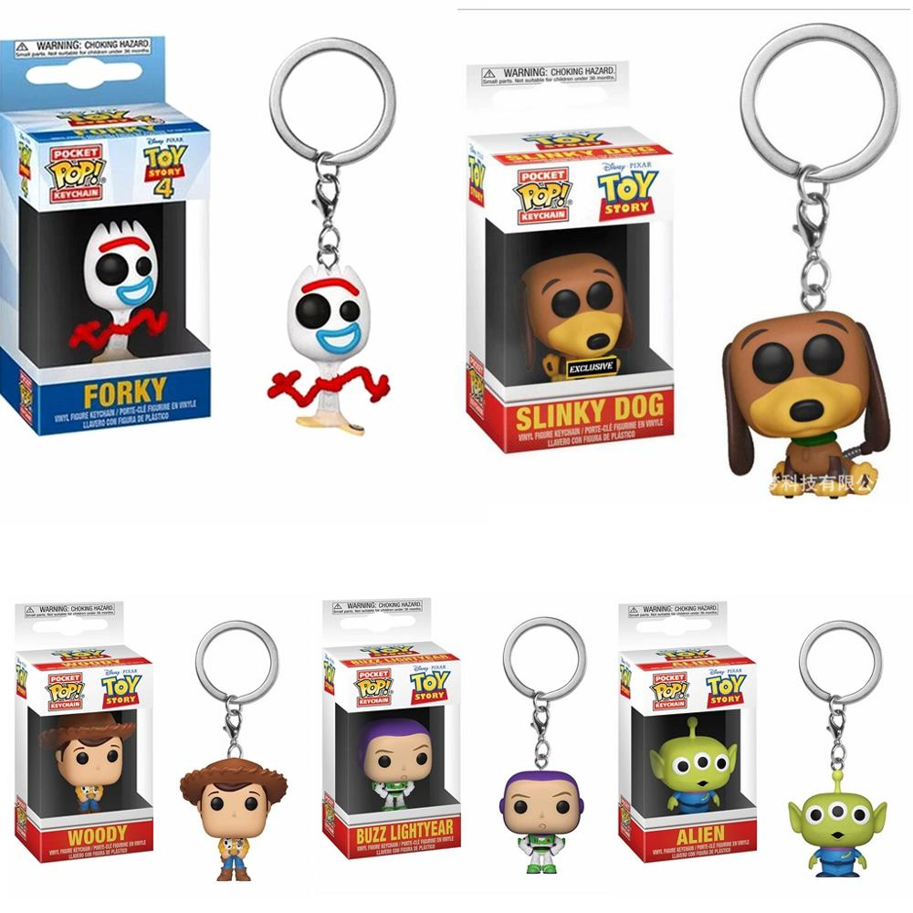 Funko POP Pocket Keychain Toy Story Action Figure Woody Alien Buzz Lightyear Forky Slinky Dog Toys