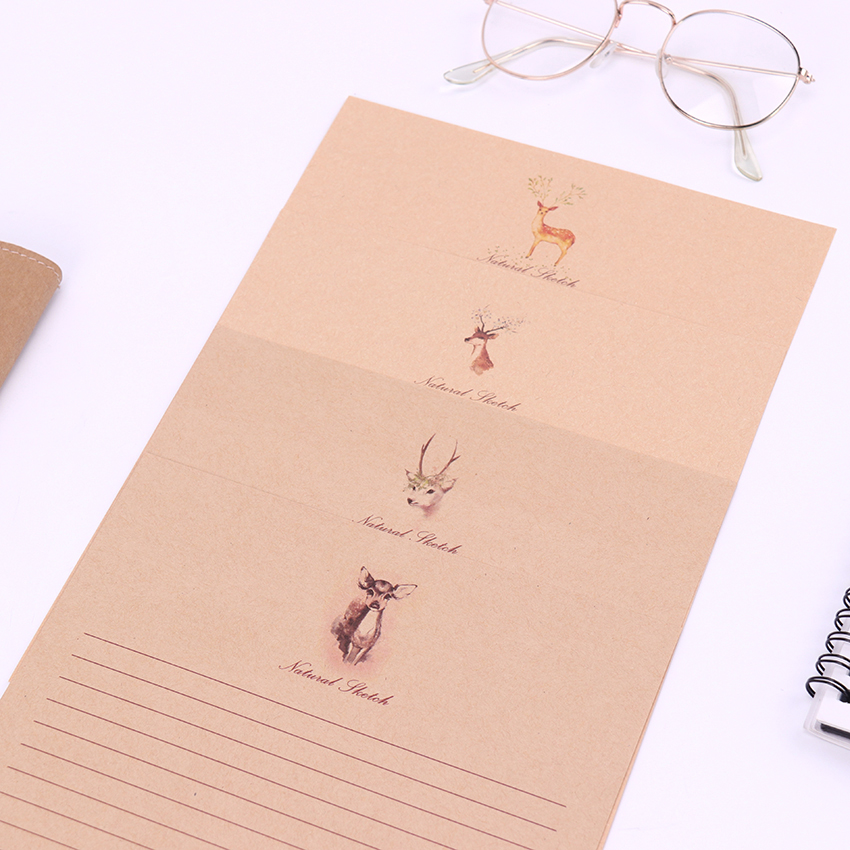 Small Deer Kraft Paper Letter Paper 4 Style Cute Vintage Letter Paper Stationary Paper For Card Scrapbooking Gift 10 Sheets