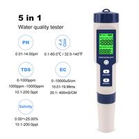 Yieryi Professional Digital Water Tester 5 In 1 PH/TDS/EC/Salinity/Temperature Tester Pen Waterproof Multi Function Meter