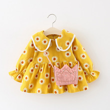 Winter Baby Girls Dresses Cute Cherry Print Doll Collar Thick Warm Princess Party Kids Infant Pleated Tutu Dress Vestido spring girls baby long sleeve doll collar princess dress mesh stitching love print tutu dress casual outfit kids clothing lr5