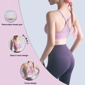 Image 3 - 2020 Sexy Women Sports Bra Home Yoga Bra Top Fitness Push Up Cross Straps Yoga Running Gym Femme Active Wear Underwear Crop Tops