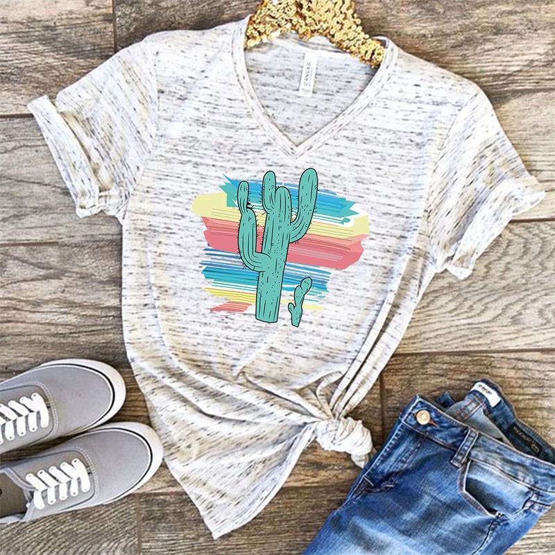 Graphic Tees Women Desert Cactus Polyester Slim Fit Tshirts Casual Summer Tees & Tops Black Harajuku Kawaii Tee Shirts