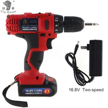 Electric Drill /Screwdriver AC 100 - 240V Cordless 16.8V with 18 Gear Torque and Two-speed Adjustment Button for Handling Screws