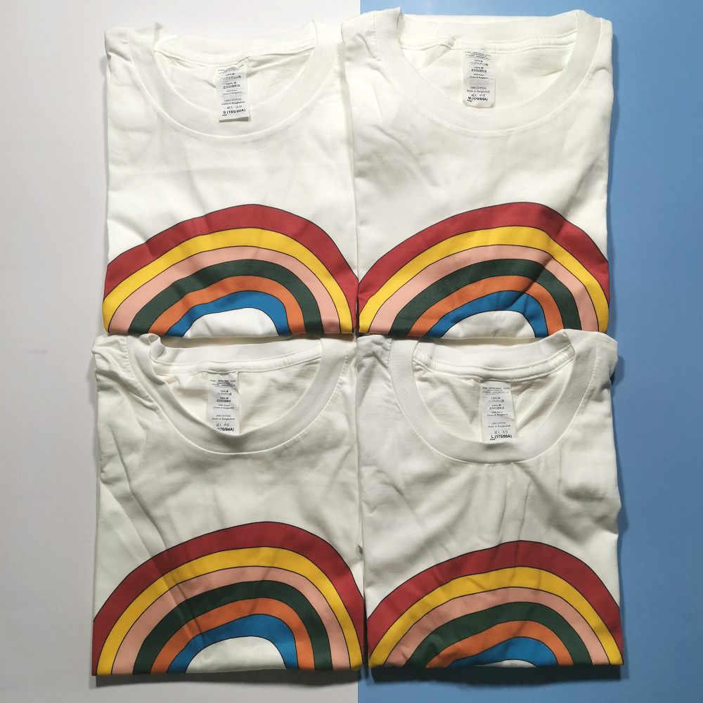 Putih Menjadi Dingin Menjadi Seperti Pelangi Kawaii Kemeja Tee Unisex Harajuku Fashion Estetika Pendek Lengan Kebesaran Kasual Tumblr T Shirt baru