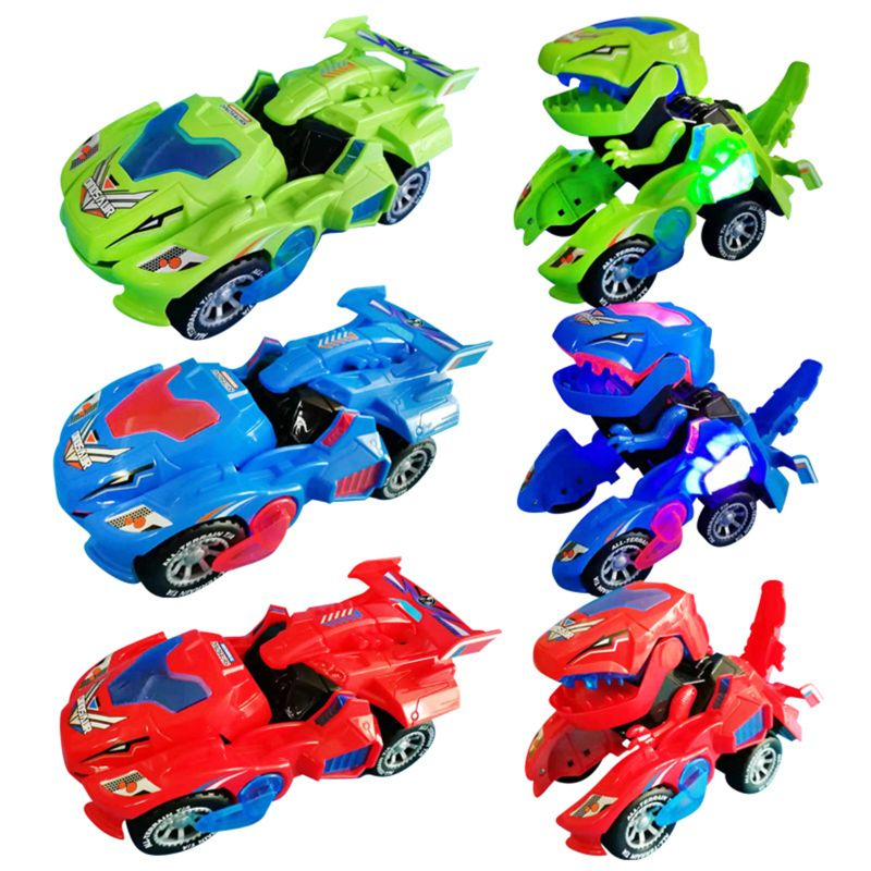 Transforming Dinosaur LED Car Dinosaur Transform Car Toy Automatic Dino Dinosaur Transformer Toy Car for Kids