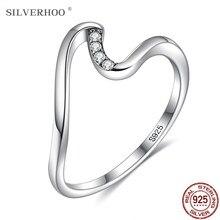 Silverhoo authentic 925 prata esterlina simpe casamento anel de noivado onda geométrica anéis de dedo para mulheres jóias presente melhor