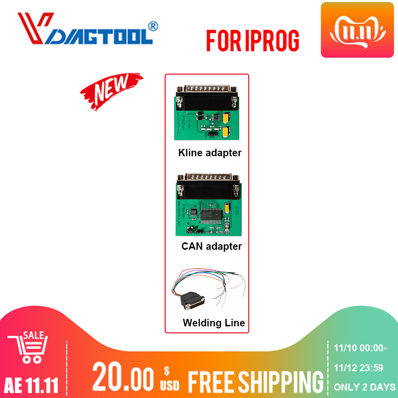 Iprog+ Key Programmer Support IMMO + Mileage Correction + Airbag Reset Iprog Pro Extar Kline &CAN Adapter Welding Line