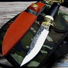 독일 DC53 스틸 사냥 칼 단조 미러 라이트 샤프 전술 스트레이트 나이프 컬렉션 의식 나이프 + 가죽 케이스