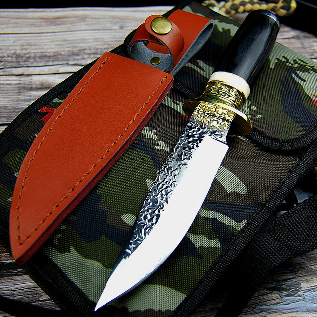 Germany DC53 steel hunting knife forging mirror light sharp tactical straight knife collection ritual knife +leather cases