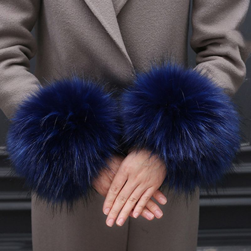 Oversized Faux Rabbit Fur Thicken Cuff Women Winter Warm Wrist Gloves Oversleeve High Quality And Brand New