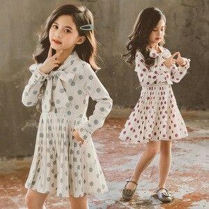 Плиссированное осенне-зимнее платье в горошек для маленьких девочек трапециевидная одежда с длинными рукавами Вечерние платья принцессы д...