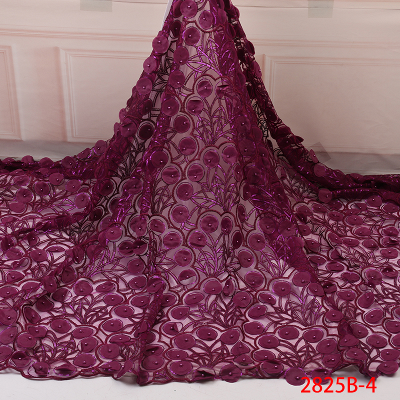 African Lace Fabric French Lace 2019 Hot Sale Nigerian Tulle Lace Fabric High Quality 3d French Lace Fabric Embroidery YA2825B-4