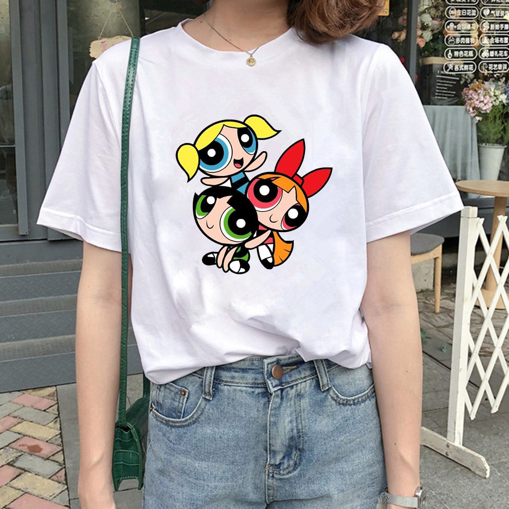 2020 New Kawaii Tops Powerpuff T Shirt Girls Police Harajuku Streetwear Funny Cartoon Printed T-shirts Women's Fashion Clothing(China)