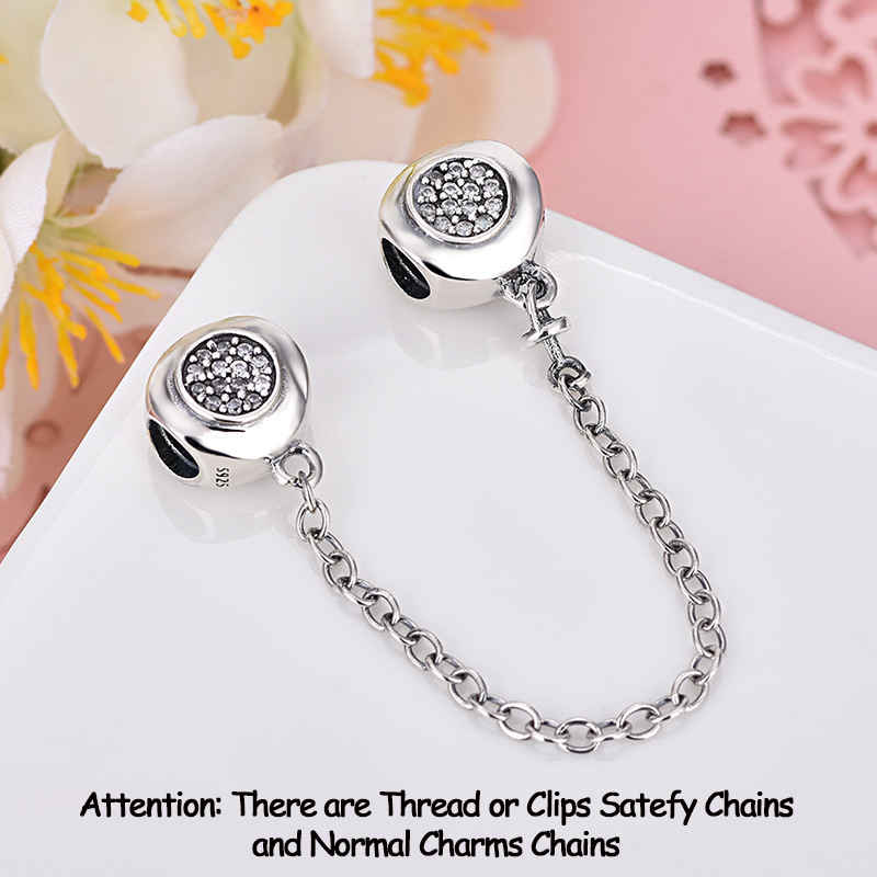 Authentic 925 Sterling Silver Beads Charm DAZZLING ELEGANCE Safety Chain Charms Fit Original Pandora  Bracelets Women Jewelry
