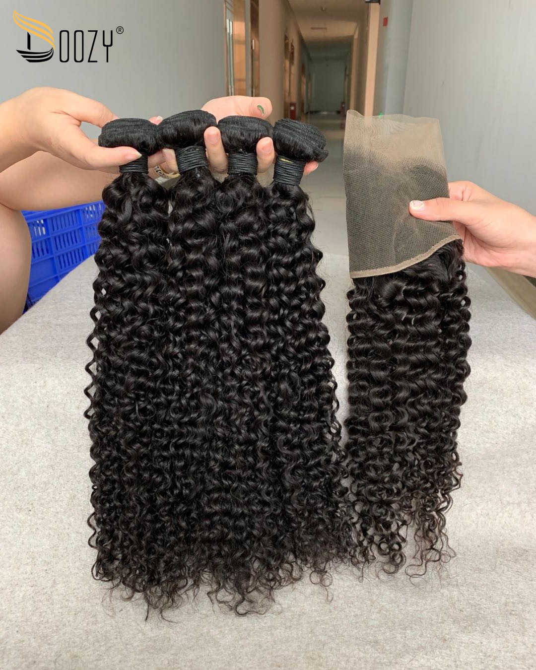 Doozy Hair Brazilian Virgin Hair 4 Bundles With Frontal Deep Curly Human Hair