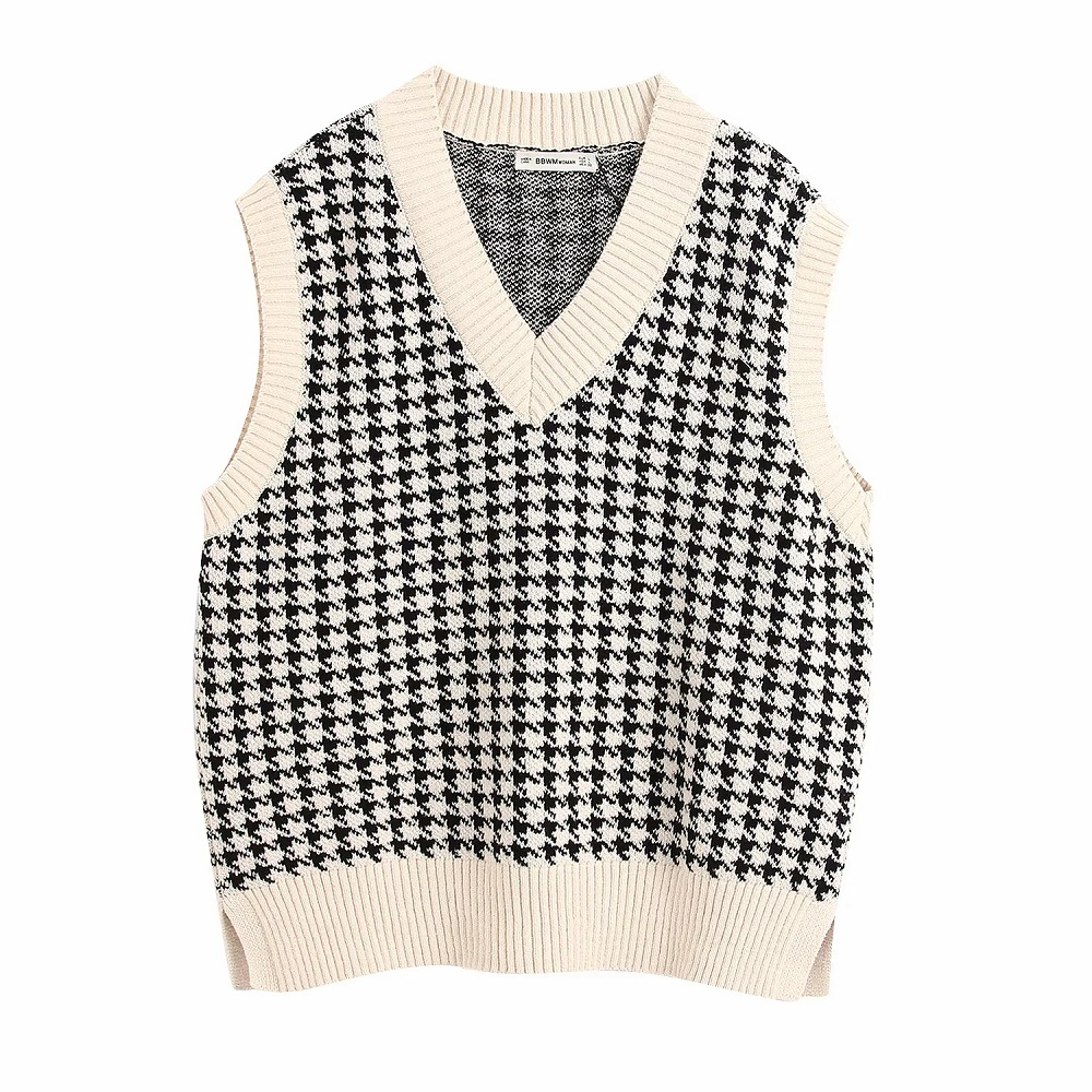 Stylish Chic Houndstooth Plaid Sleeveless Sweater Women Fashion V-Neck Pullovers Elegant Ladies Casual Jumpers