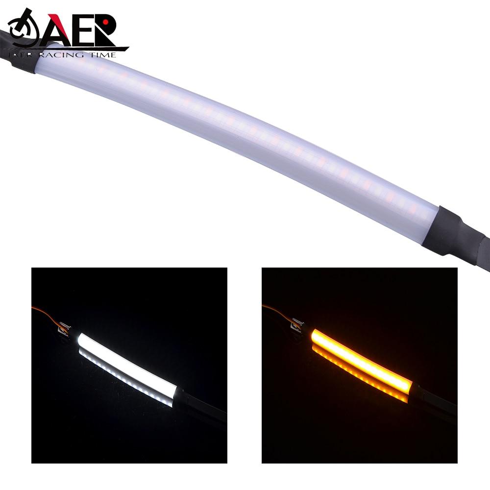 Motorcycle LED Fork Lights 45-70mm Turn Signal Running Blinker Light Stirp