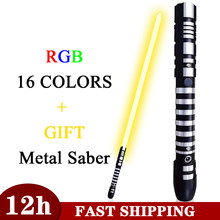 Lightsaber RGB 16 Color Changing Light Saber De Luz Skywalker Cosplay Metal Handle Heavy Dueling 5 Sound Force Blaster LED Sword