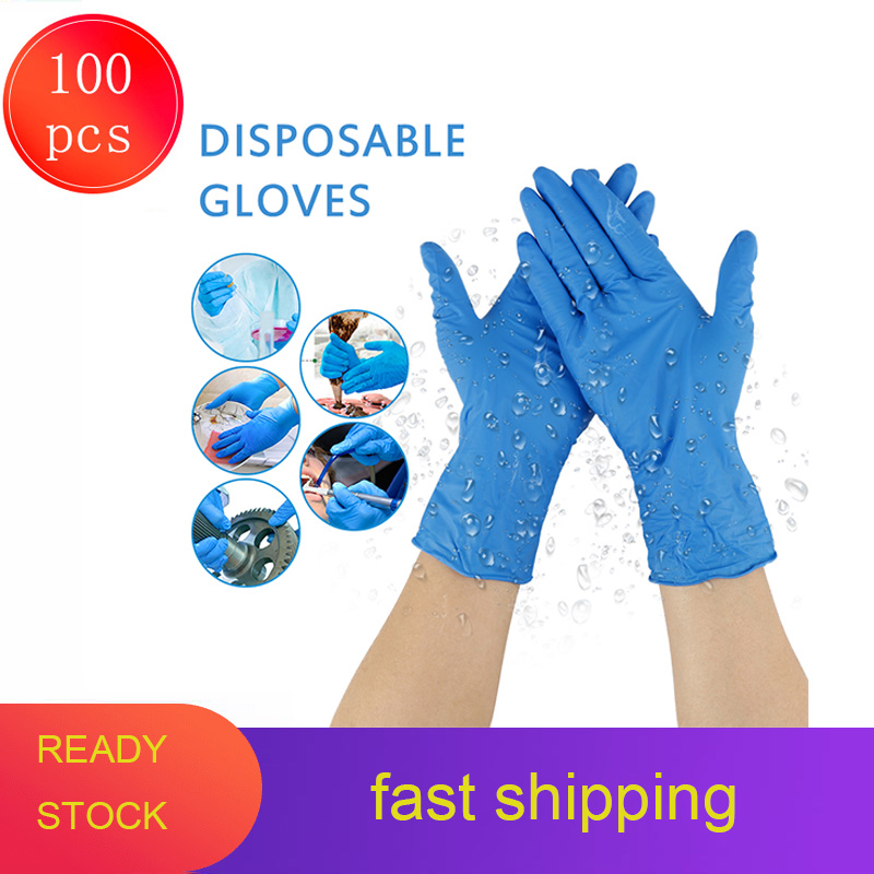 20/100pcs Disposable Nitrile Gloves Anti-static Waterproof Allergy Free Work Safety Latex Gloves Mechanic For Medical Gloves