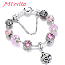 MISSITA Women Silver Plated Charm Bracelet with Rose Pendant Pink Beads Carved Brand Jewelry for Party Gift