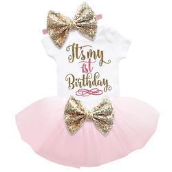 Одежда на первый день рождения для маленьких девочек, летняя одежда для малышей, платья для крещения для маленьких девочек, платье для креще...