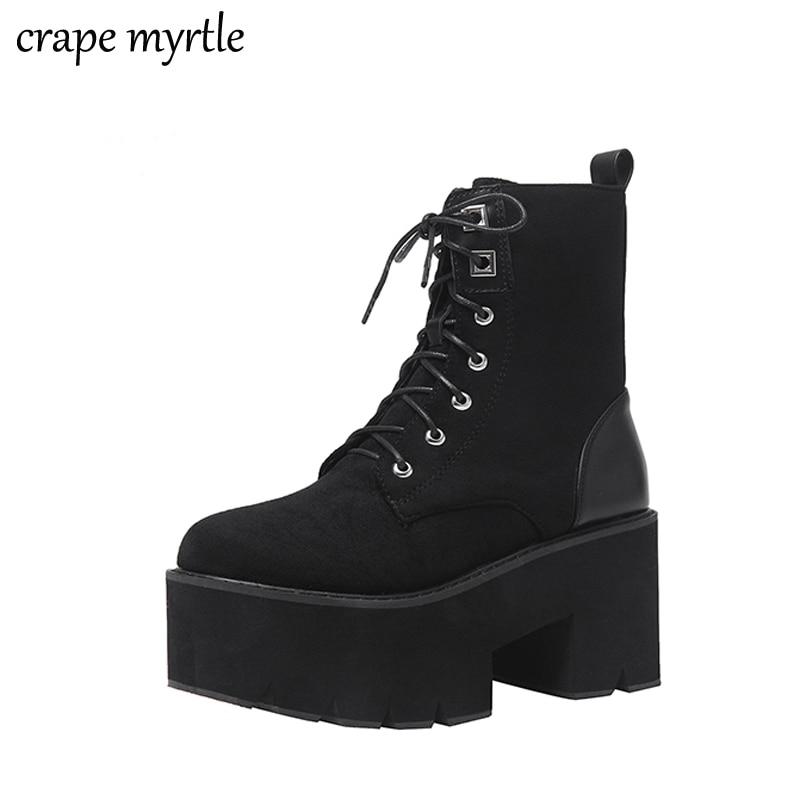 lace up punk black boots women ladies