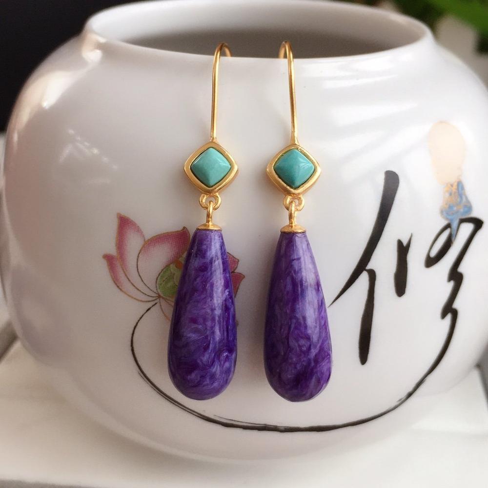 Z115 bijoux fins S925 argent Sterling russie Charoite pierres précieuses boucles d'oreilles pour femmes boucles d'oreilles fines